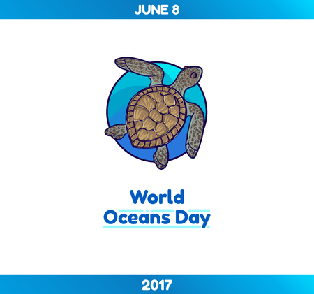 activism: World Oceans Day, June 8. Promoting card, vector template with marine turtle