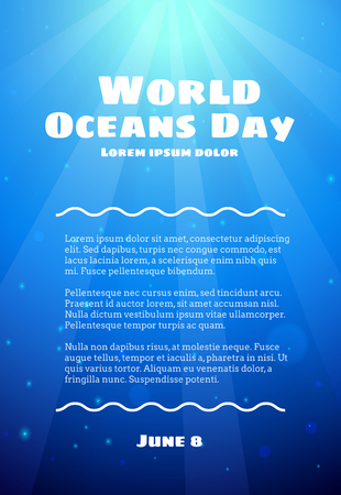 World Oceans Day, June 8. Promoting card with realistic deep water texture, vector cartoon illustration. Abstract sea waves on a blue background with text