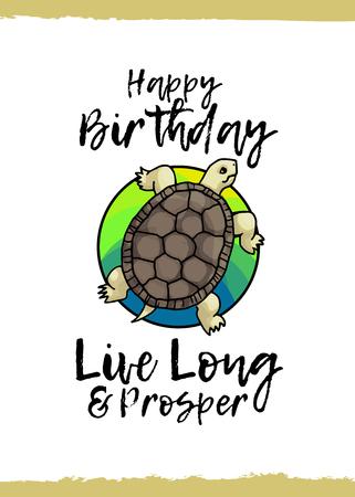 Happy Birthday Tortoise Live Long And Prosper Greeting Card
