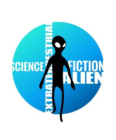 적합: Alien humanoid and against wording on blue gradient circle. Vector illustration, image of extraterrestrial intelligence. Suitable for t-shirt print or web article