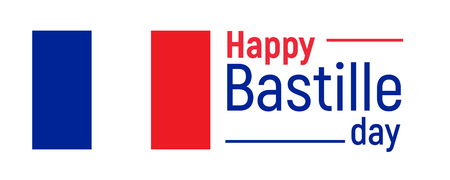 Happy Bastille day, 14th July. French national holiday, vector design element suitable for banner or poster. National flag of France