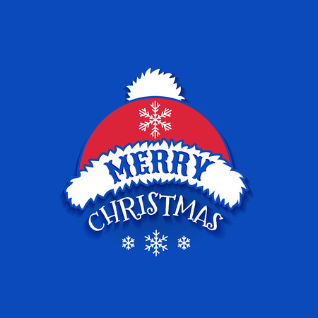 Merry Christmas, December 25, vector design element. Red Christmas Santa Claus Hat with text of greetings and little white snowflakes on blue background.