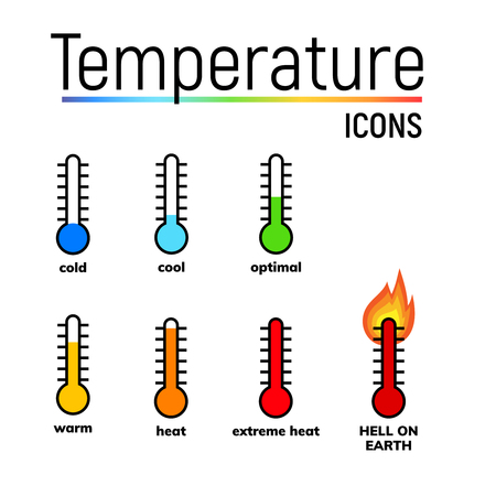 Temperature icons set, vector clip arts. Narrow-range mercury thermometer shows different weather. Cold, cool, optimal, warm, heat and extreme heat.