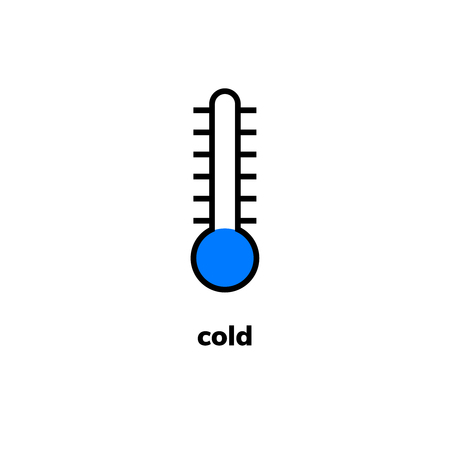 Temperature icon, vector clip art. Narrow-range mercury thermometer shows cold weather