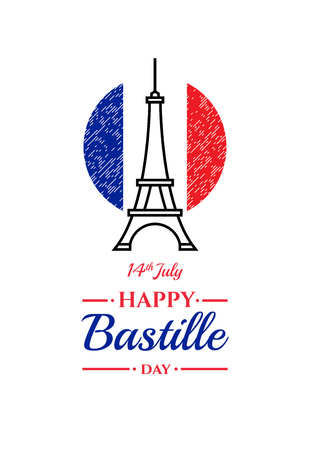 Happy Bastille day, 14th July. French national holiday, design element suitable for banner or poster. Linear abstract illustration of the Eiffel Tower with National flag of France