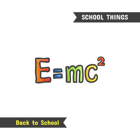 Back to School Supplies, hand drawn icon, isolated on white, cartoon style. Natural sciences. Physics symbol, mass energy equivalence formula, e mc2