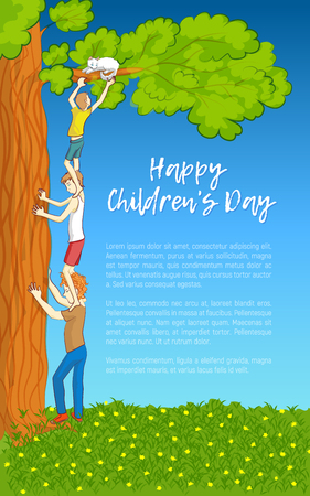Happy Childrens Day. Three children save a cat stuck on a tree branch. Symbol of teamwork and mutual support. illustration. Stock Photo