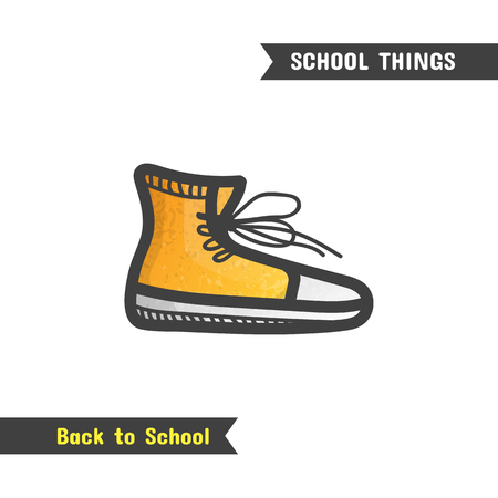 Back to School Supplies, hand drawn icon, isolated on white, cartoon style. Orange gym shoes Stock Photo