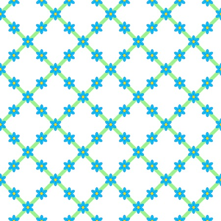 Flowers background, cute seamless pattern. Blue forget-me-not flowers, arranged in the form of a grid with green stripes Stock Photo