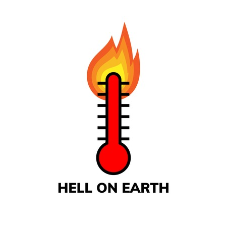 Temperature icon, clip art. Narrow-range burning mercury thermometer shows extreme heat weather, Hell on Earth