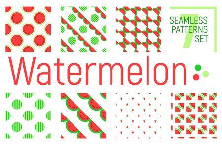 suitable: Watermelon seamless pattern set, vector tileable background. Suitable for printing on fabric or wrapping paper