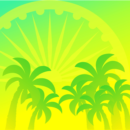paysage: Ashoka wheel and palm trees vector design element, square green background. Dawn in India, the wheel symbolizes the Sun