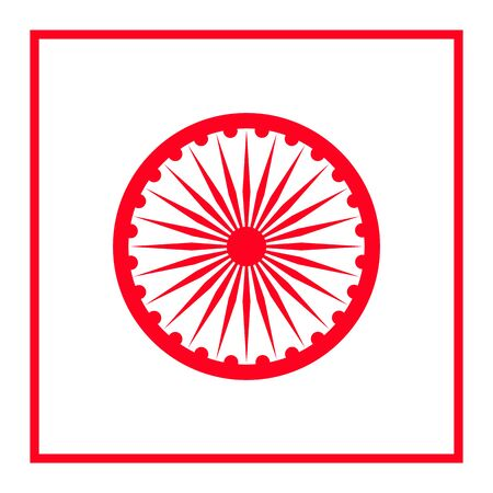 Ashoka wheel icon, vector design element. Wheel of the Buddhist Dharma Illustration