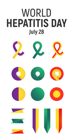 World Hepatitis Day, July 28, vector design element. Awareness Ribbons and icons set. Symbols of Autoimmune Hepatitis, Hepatitis C and B, HIV and HCV Co-Infection, liver cancer