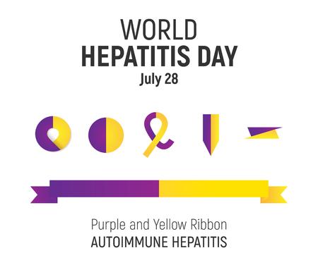convalescence: World Hepatitis Day, July 28, vector design element. Purple and Yellow Awareness Ribbon and icons set, Autoimmune Hepatitis. Illustration