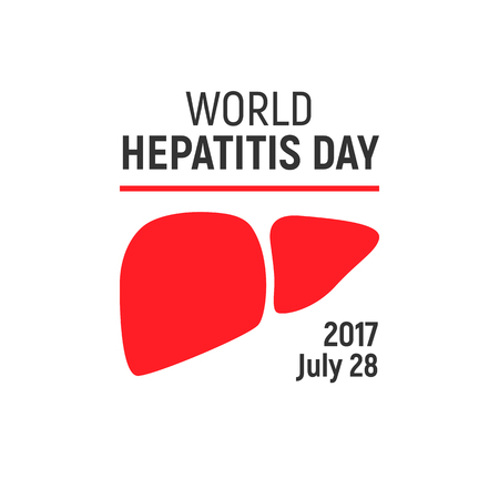 convalescence: World Hepatitis Day, July 28 2017, vector design element. Awareness card with liver icon Illustration