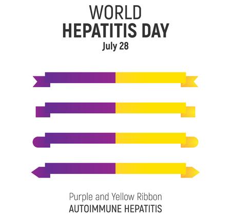 convalescence: World Hepatitis Day, July 28, vector design element. Purple and Yellow Awareness Ribbons set, Autoimmune Hepatitis.