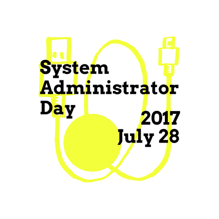System Administrator Appreciation Day, July 28 2017, vector greeting card with usb extension cable on background