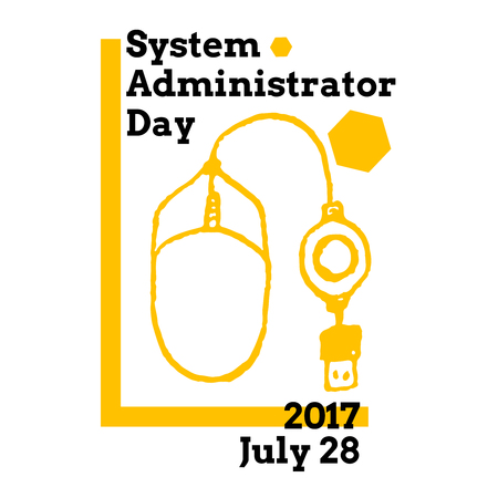 System Administrator Appreciation Day, July 28 2017, vector greeting card with computer mouse