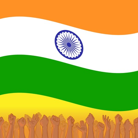 India Independence day. background with Indian national flag, deep saffron, white and green colors. 15th of august design element with Dharma wheel. Crowd of indian people with raised hands Stock Photo