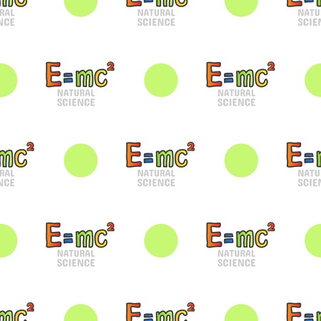 Back to school seamless pattern, vector tileble background on white. Natural sciences. Physics symbol, mass energy equivalence formula, e mc2 Illustration
