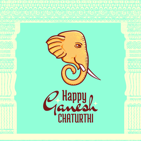 Happy Ganesh Chaturthi vector poster, Hindu festival design element. Frame made of ancient building elements, such as classical architecture entablature and columns Illustration