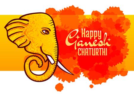 Happy Ganesh Chaturthi, vector poster, Hindu festival design element. Horizontal banner, elephant head with one tusk broken, symbol of Hindu God Ganesh