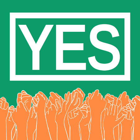Abortion rights in the Republic of Ireland. May 25, 2018. Repeal of the 8th amendment. Raised hands of voting people, colors of Irish national flag  イラスト・ベクター素材