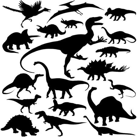 19 piezas de las siluetas de dinosaurios vectorial. Foto de archivo - 4862684