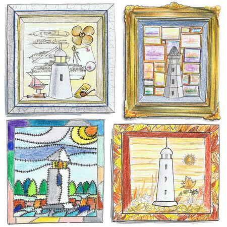solely: Illustration of pencil drawing lighthouses.