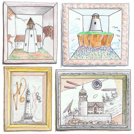 Illustration of pencil drawing lighthouses. illustration
