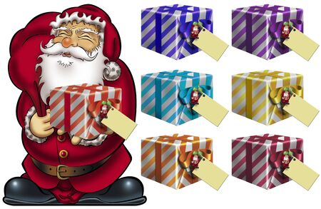 replaced: Santa holding a colorful gift package with blank greeting card. All boxes are the same size, so the red box on Santas hand can be easily replaced with the other boxes. Stock Photo