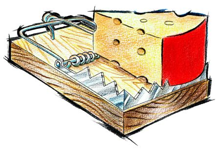 Illustrating the usage of correct methods with mouse trap and cheese used symbolically Stock Photo - 4976092