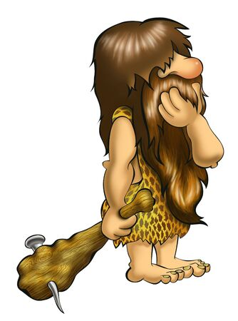 a cudgel: Caveman thinking on white background