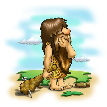 Caveman thinking on colorful background photo