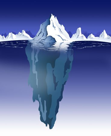 visible: Nighttime view of an iceberg with visible underwater surface. Stock Photo