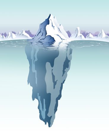 visible: Daytime view of an iceberg with visible underwater surface.