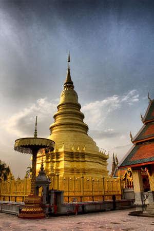 Peaceful area,Hariphunchai Pagoda Stock Photo - 8473468
