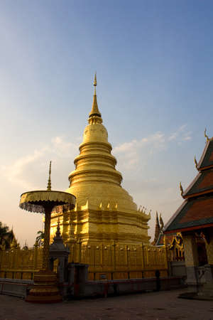 Peaceful area,Hariphunchai Pagoda Stock Photo - 8495862