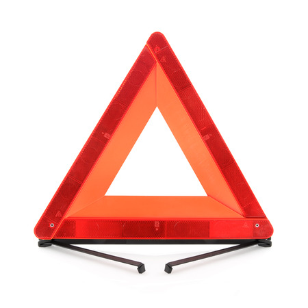 Warning traffic sign  Red triangle isolated on a white background Stock Photo