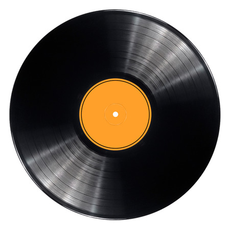 Black vinyl record album disc  Isolated long play disk with blank orange label