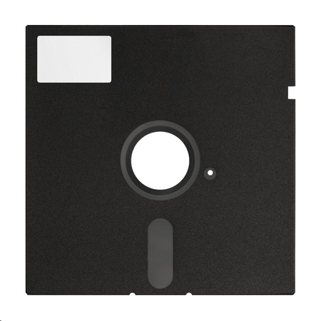 diskette: Black 5 25 inches floppy disk isolated on a white background.