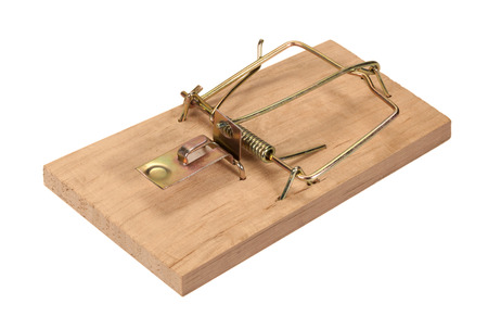 trickery: Empty mousetrap isolated on a white background.