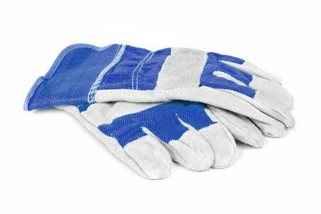 guantes: Par de azul de protección guantes de trabajo aislados en un fondo blanco.