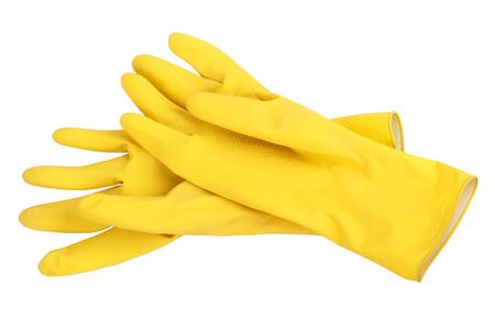 Paar gele rubber schoonmaken handschoenen geïsoleerd op een witte achtergrond. Stockfoto