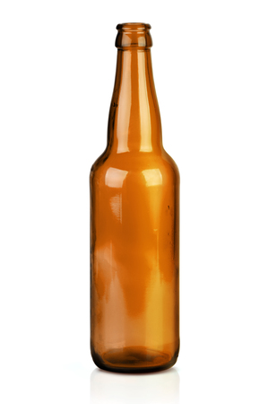 dew cap: Brown beer bottle isolated on a white background. Stock Photo