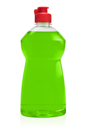dish: Green Washing up bottle isolated on a white background.
