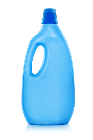 plastic material: Softener bottle with liquid laundry detergent, cleaning agent, bleach or fabric softener - isolated on a white background.