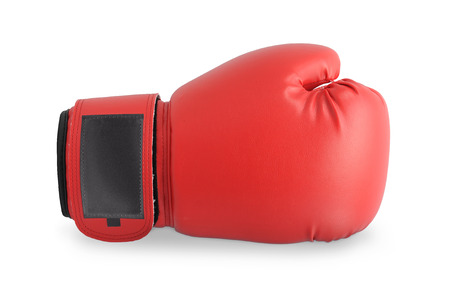 Red boxing glove isolated on a white background. Stock Photo