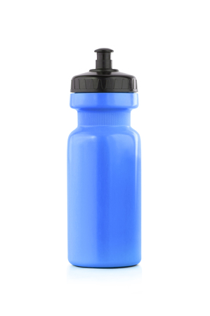 Blue bicycle bottle isolated on a white background. Foto de archivo